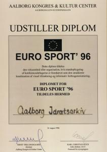 Diplomet som Idrætsarkivet vandt i 1996