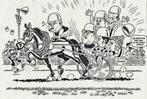 Karikaturtegning fra løbet på Væddeløbsbanen. Overskuddet var på hele 50.000 kr., som gik til SIFA - Skøjtehallen.