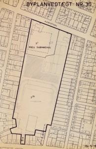 Grundplan af stadion 1968. Projekteret svømmehal øverst er Haraldslund.